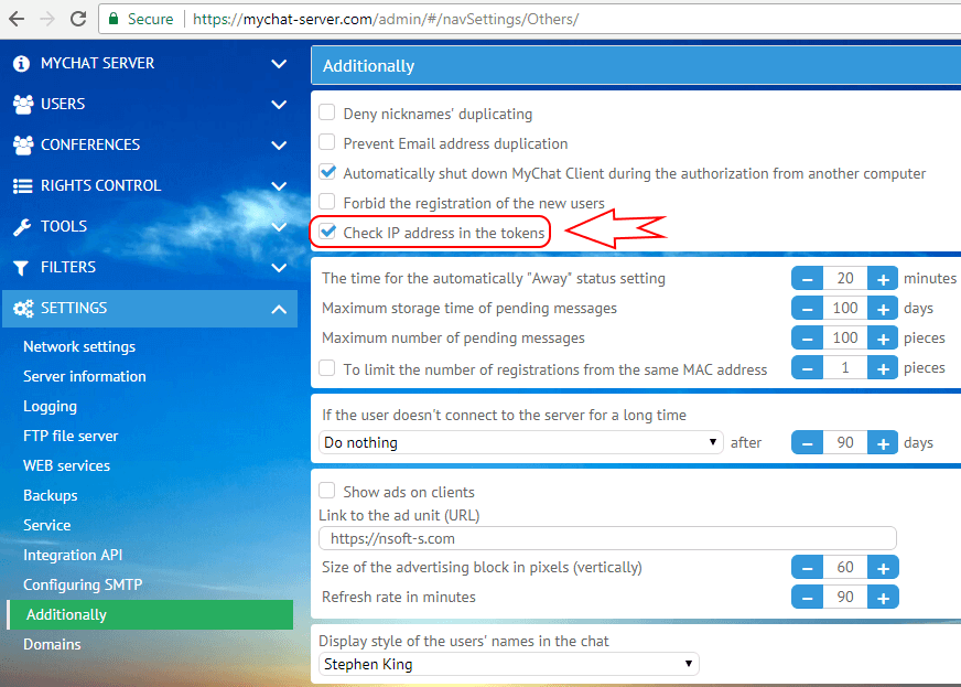 Disabling IP address in tokens when entering MyChat Services