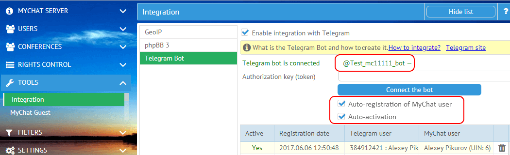 Auto-registration and auto-activation of Telegram user on MyChat Server
