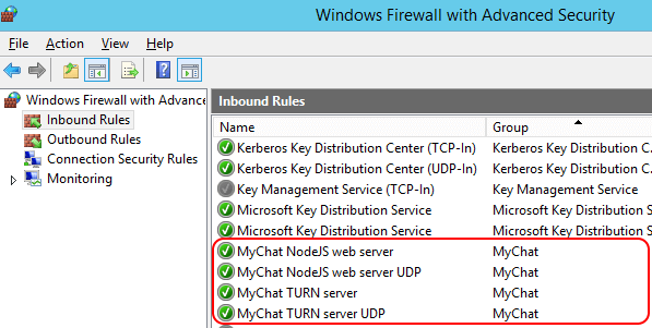 MyChat Server in the Windows Firewall exception list