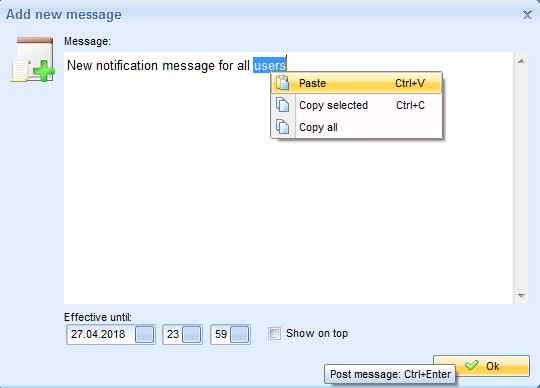 Context menu in MyChat announcement board