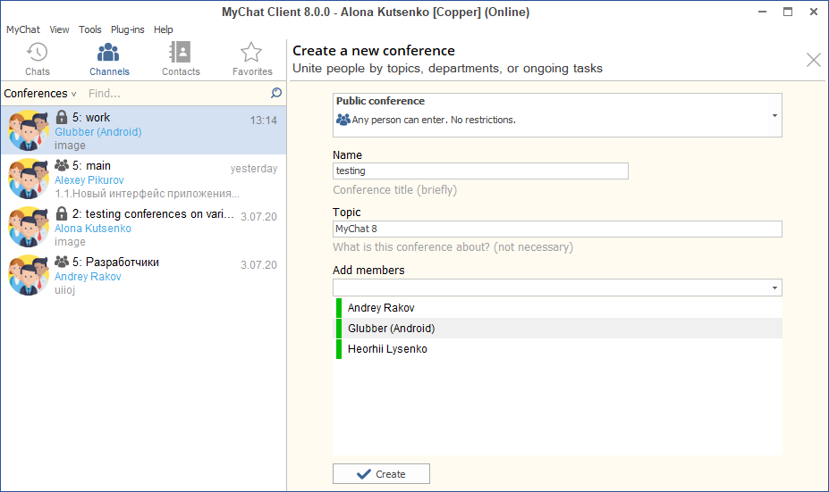 Creating conferences in  MyChat 8