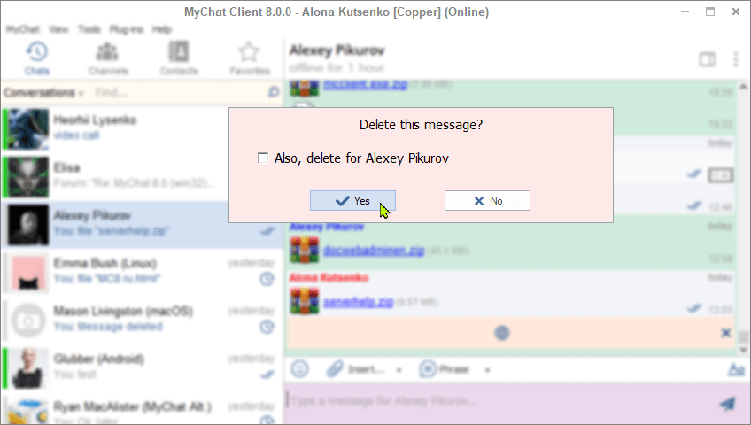 Deleting messages in MyChat Client 8.0