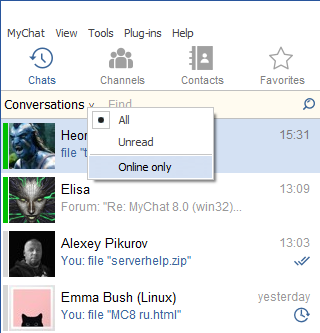 New dialogues in MyChat Client 8.0