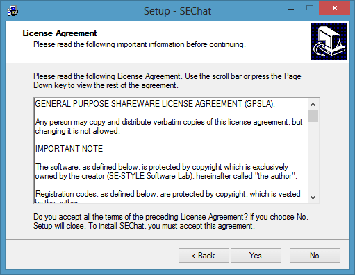 License agreement in SEChat